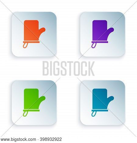 Color Sauna Mittens Icon Isolated On White Background. Mitten For Spa. Set Colorful Icons In Square
