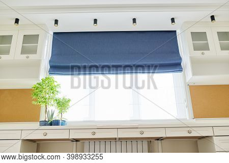 Roman Blind In The Interior Detail Close-up. Curtain Blue Blackout Fabric, Sheers White Linen, Fashi