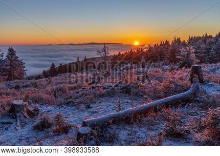 Sunrise in winter landscape near Velka Destna, Orlicke mountains, Eastern Bohemia, Czech Republic