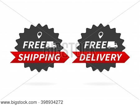 Free Delivery, Free Shipping. Delivery Banner On White Background.