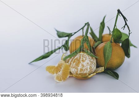 Fresh Tangerines With Leaves On White Background Food, Still Life, Fruit Still Life