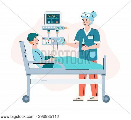 Doctor Female Character Advising Patient In Hospital Room, Cartoon Vector Illustration Isolated On W