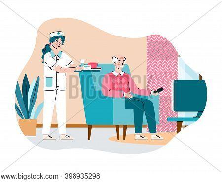 Doctor Care Elderly Man In Nursing Home. Female Nurse Brought Food For Male Senior Watching Tv. Hous
