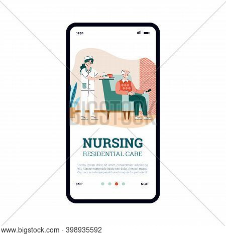 Onboarding Page Design Of Elderly Nursing Residential Care Services. Mobile App Screen Template With