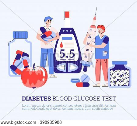Diabetes Test, Control And Treatment Concept. Doctor Making Analyses For Patient Blood Glucose Level