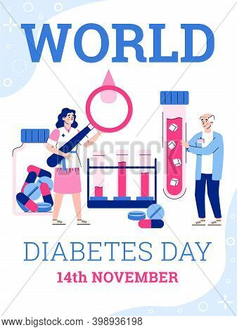 World Diabetes Day Banner Or Poster Layout With Cartoon Characters Of Doctor And Elderly Patient, Fl