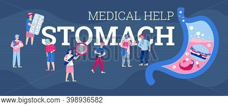 Banner With Doctor And Nurse Providing Medical Help And Treatment For People With Stomach Pain. Symp