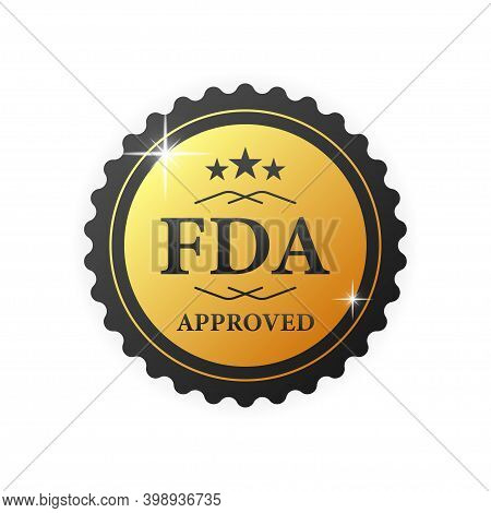 Fda Approved Gold Rubber Stamp On White Background. Realistic Object. Vector Illustration.