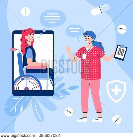 Doctor Advising And Giving Online Prescription To Patient With Disability, Cartoon Vector Illustrati