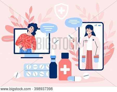 Device Screens With Female Therapist On Chat In Messenger And Sick Woman. Online Consultation And Te