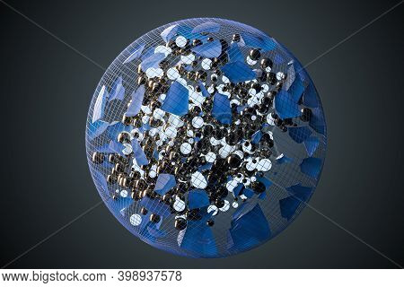 The Broken Pieces Of The Crystal And Balls In The Grid Sphere, 3D Rendering.