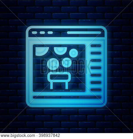 Glowing Neon Chemical Experiment Online Icon Isolated On Brick Wall Background. Scientific Experimen