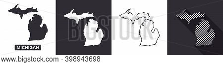 State Of Michigan. Map Of Michigan. United States Of America Michigan. State Maps. Vector Illustrati