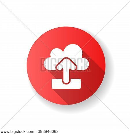 Upload Red Flat Design Long Shadow Glyph Icon. Sending Your Personal Information To Remote Cloud Ser