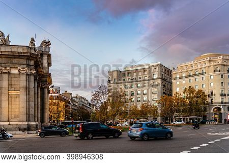 Madrid, Spain - December 6, 2020: Plaza De La Independencia Or Independence Square With Puerta De Al
