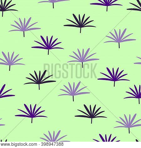 Trendy Seamless Graphic Ditsy Pattern Design Of Tropical Broadleaf Lady Palm Leaves. Artistic Vector