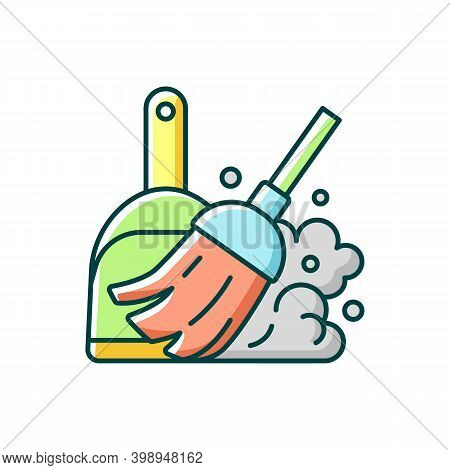 Sweeping Floor Rgb Color Icon. Household Chore, Indoor Cleanup. Housekeeping Task, Domestic Hygiene.