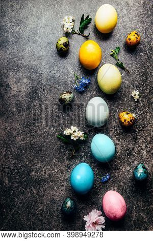 Easter Eggs Dyed In Pastel Colors With Natural Ingredients From Red Cabbage, Onion, Spinach, Berries