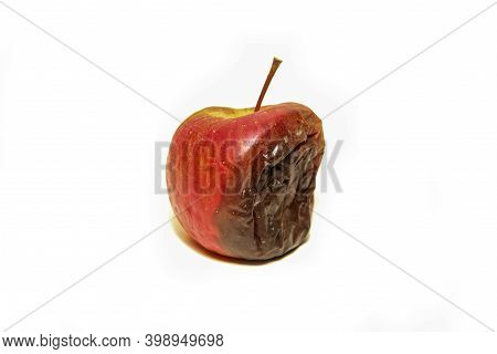 One Rotten And Uneatable Apple. Isolated On A White Background.
