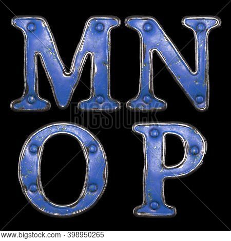 Set of uppercase letters M, N, O, P made of painted metal with blue rivets on black background. 3d rendering