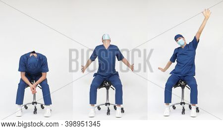 Exhausted male medical professional stretching arms, back,neck   sitting on mobile saddle