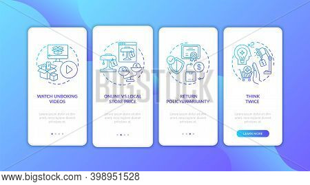 Informed Customer Tips Onboarding Mobile App Page Screen With Concepts. Online And Local Store Price