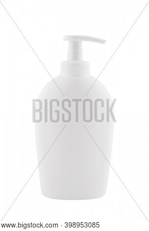 White plastic bottle with liquid hand soap isolated on white background with clipping path
