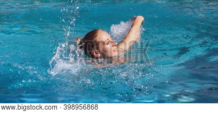 Beautiful Young Nude Woman In Swimming Pool