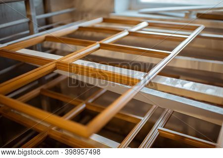 Wooden Window Frames At The Carpentry Before The Painting Process, Close-up