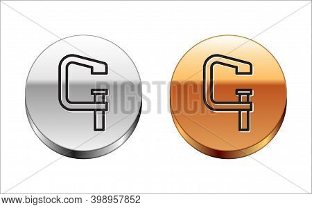 Black Line Clamp And Screw Tool Icon Isolated On White Background. Locksmith Tool. Silver-gold Circl