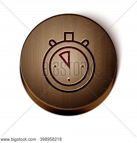 Brown Line Stopwatch Icon Isolated On White Background. Time Timer Sign. Chronometer Sign. Wooden Ci