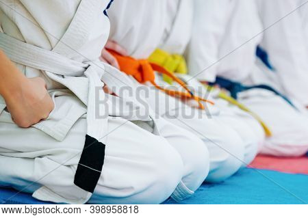 Kids Training On Karate-do. Banner With Space For Text. For Web Pages Or Advertising Printing.