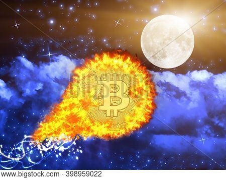 Concept Of Bitcoin Value Going To The Moon. Fire Bitcoin Hits An All-time High Price Record In Novem