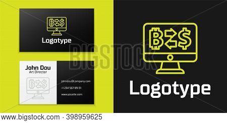 Logotype Line Cryptocurrency Exchange Icon Isolated On Black Background. Bitcoin To Dollar Exchange