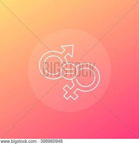 Gender Equality, Equal Rights Vector Linear Icon, Eps 10 File, Easy To Edit