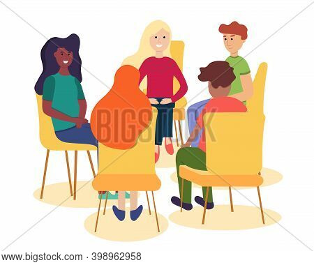 United Community Of People Of Different Races. Support Group Therapy, Psychologist Counseling People