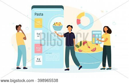 Mobile Application For Calorie Counting. Tiny People With Diagram On Giant Mobile Phone And Fresh Fo