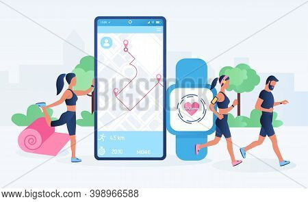 Smartwatch App And Fitness Tracker Technology Concept. Active People Characters Running With Heart R