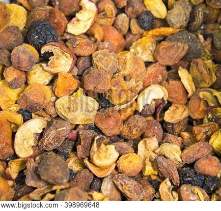Compote Mixture Of Dried Fruits From Apples Pears Peaches Prunes Plums. Fruits Nuts Vegetables Berri