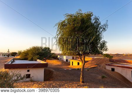 Al Madam Ghost Town Landscape, Village Buried In Sand Dunes, Hunted By Evil Djinn, In The Desert Of