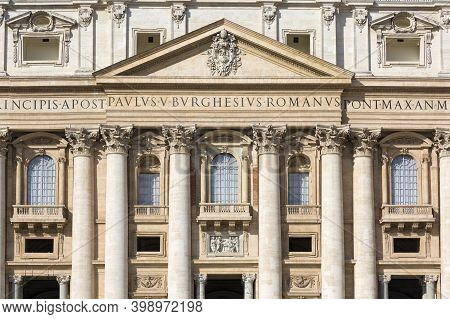Vatican, Rome, Italy - October 9, 2020: Facade Of  Saint Peter's Basilica. Balcony Called The The Bl