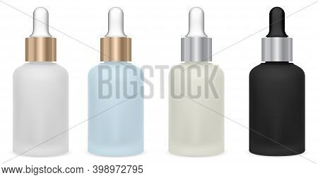 Oil Bottle With Dropper. Cosmetic Serum Glass Bottle With Eye Drop Isolated On White. Clear Glass Dr