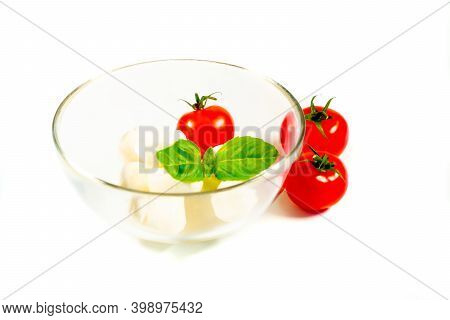 Basil, Tomatoes And Mozzarella For Caprese Salad