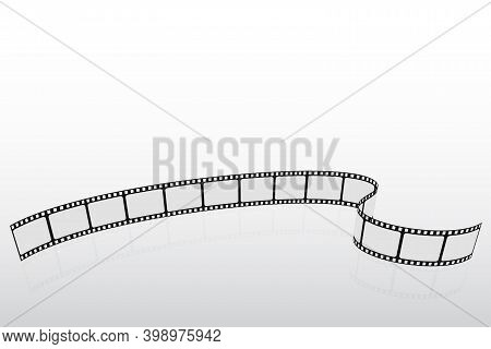 Realistic 3d Film Strip In Perspective. Cinema Background. Template Poster For Cinema Festival. Movi