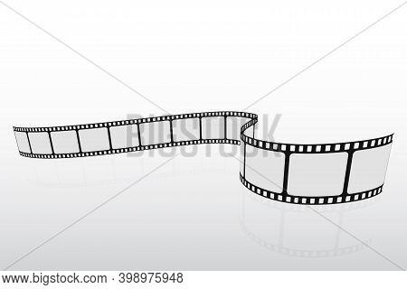 Isometric Film Strip. Cinema Background. Realistic Blank Negative Film Frames For Your Element Desig
