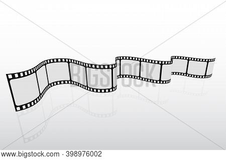 Realistic 3d Film Strip Frame. Cinema Background. Design Cinema Template With Place For Text. Vector