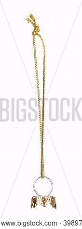 Golden Cord For Hanging Christmas Decorations On A Christmas Tree. Design Element With Clipping Path