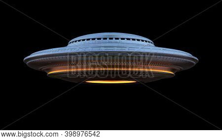 Unidentified Flying Object Ufo (over Black) With Clipping Path Included. 3d Illustration.