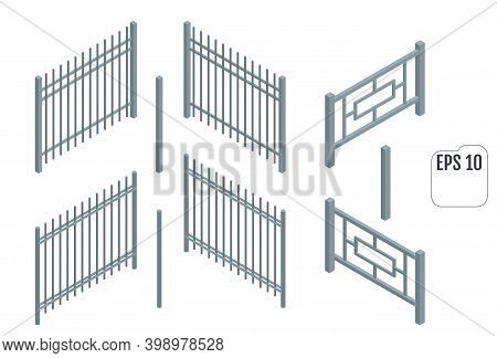 Isometric Metal Fence Sections. Support Posts And Fence Sections Set. Vector Fencing Constructor.