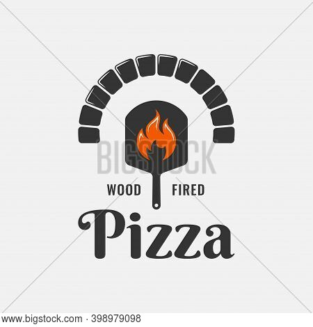 Pizza Logo With Pizza Shovel And Oven With Flame